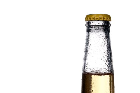 Horizontal close up of a single bottle of beer on white Stock Photo - 6327194