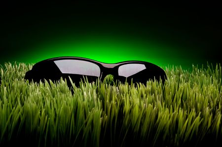 Black framed sunglasses on grass against fading green