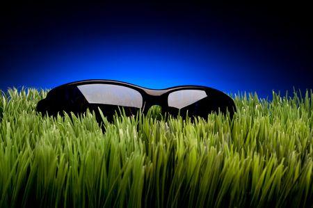 Black framed sunglasses on grass against fading blue