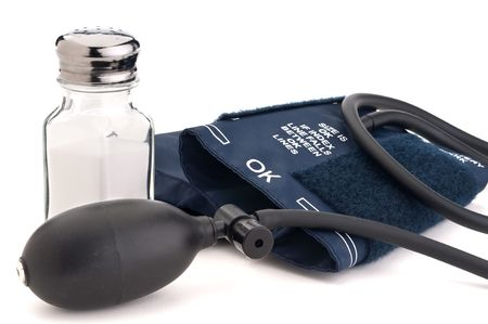 Salt shaker a blood pressure cuff:Salt and high blood pressure