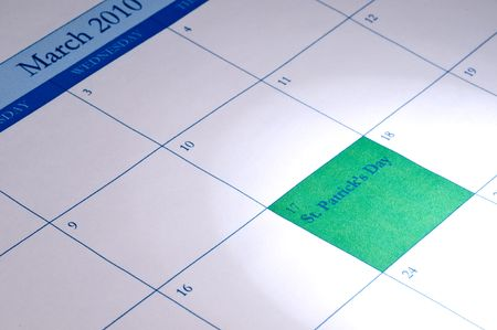 March 2010 calendar with March 17 highlighted in green for St. Patrick's Day Imagens
