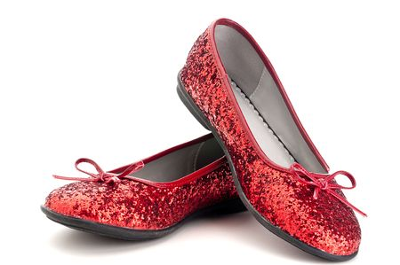 Horizontal close up of sparkling red slippers Stock Photo