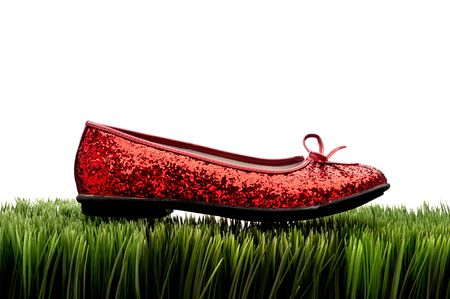 Sequined red slipper on green grass on white