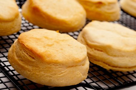 Tilted horizontal close up of fresh baked biscuits