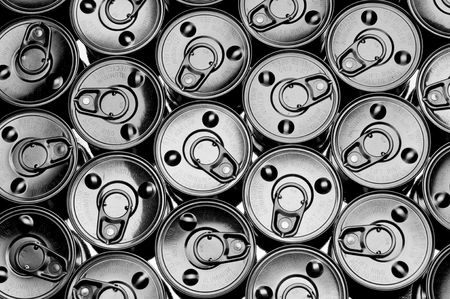 abstract top view of a number of tin cans Stock Photo