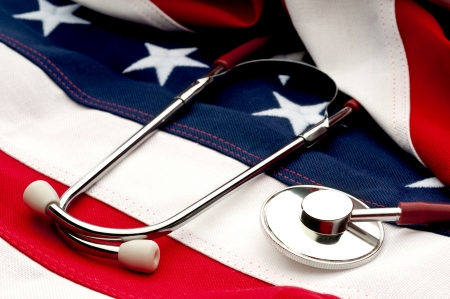 A stethoscope on an American flag: Health Care debate Stock Photo - 6622593