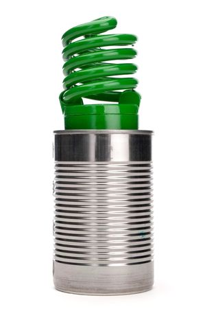 Green compact fluorescent bulb in a tin can on white