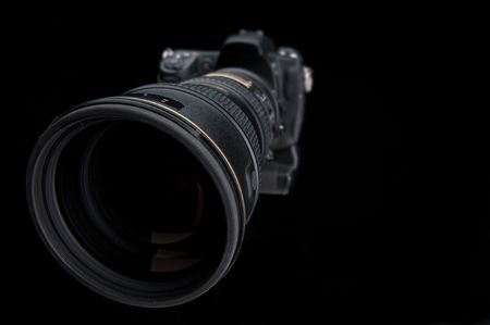 extreme angle: Extreme wide angle close up of a large lens on a camera Stock Photo