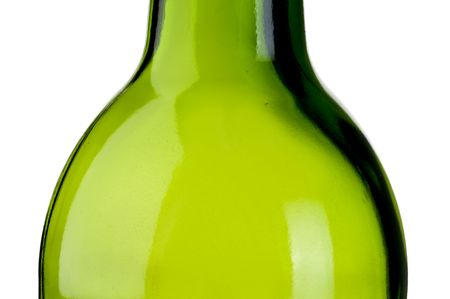 abstract close up of an empty green bottle of wine