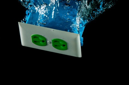 Electrical outlet splash pattern in water