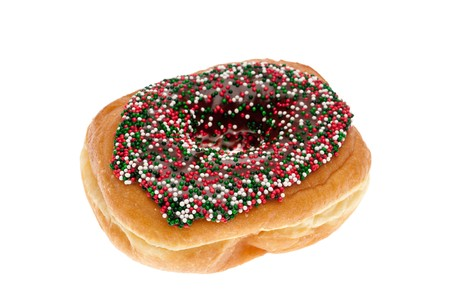 A single donut with chocolate icing and sprinkles on white Stock Photo - 7152628