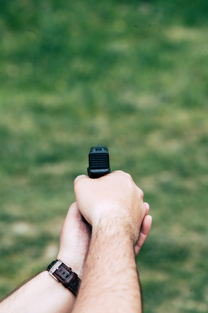 Recharge the gun in hand. Training on shooting