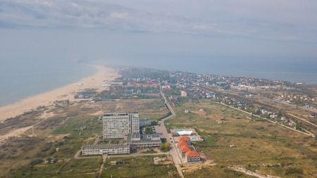 Shoreline photographed from drone. Sea, sand and hotels on the beach in the Odessa region. Ukraine