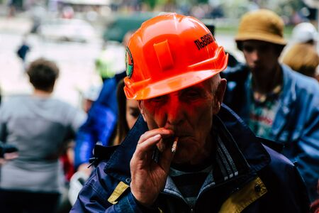 05/15/2019 Ukraine. Kiev. Near the Ministry of Energy and Coal Industry, the miners protest because of their non-payment of wages 新聞圖片