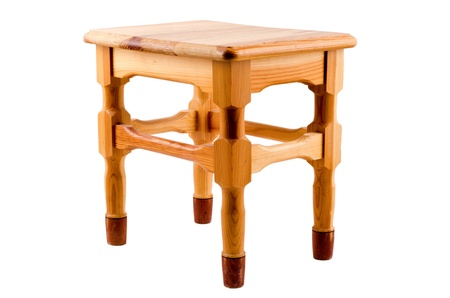 natural wood isolated stool on the white background