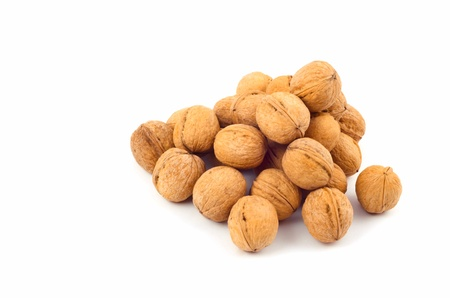 walnuts on the white background