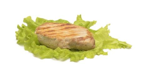 grilled meat on the salad leaf
