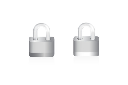 Two isolated locks on white background