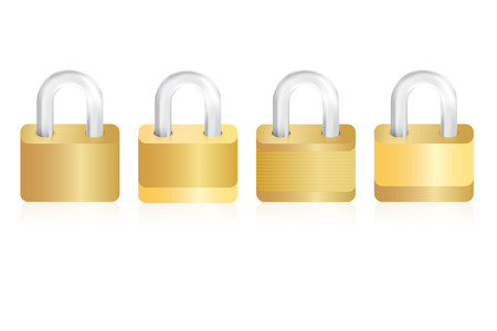 Four isolated gold locks on white background