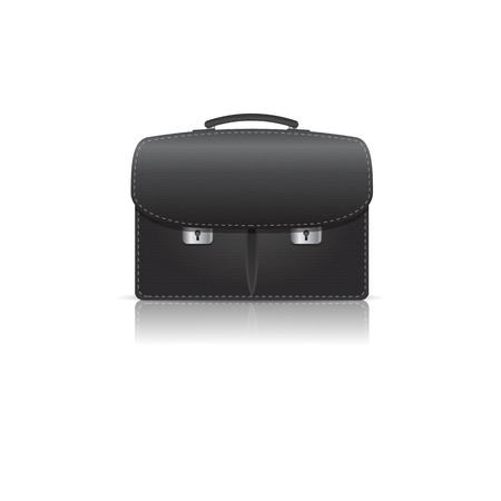 Isolated on white black leather briefcase