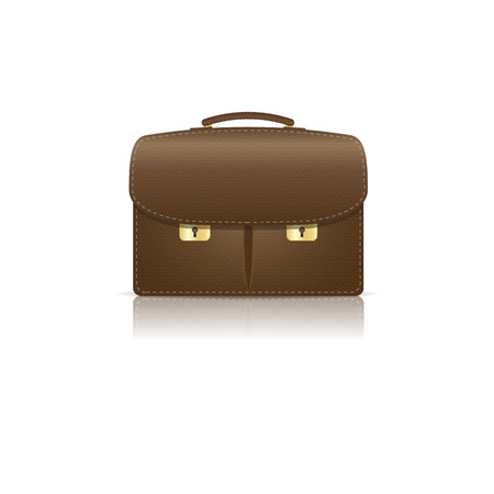 Isolated on white brown leather briefcase  Illustration