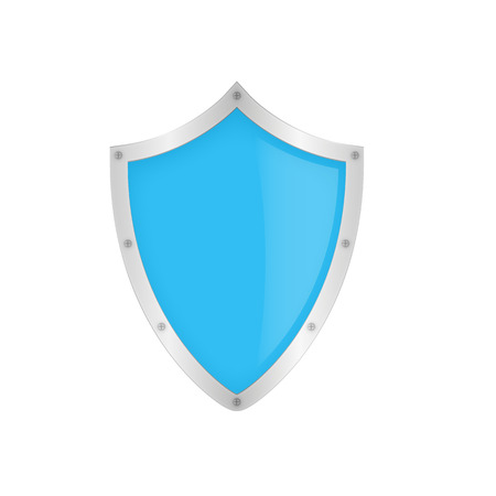 Blue classic shield on the white background Illustration