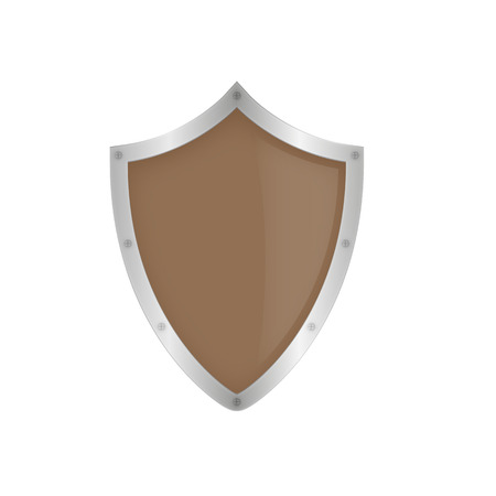 Brown shield on the white background