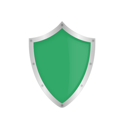 Green shield on the white background