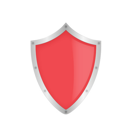 Red shield on the white background