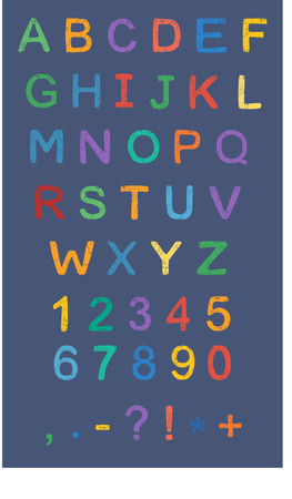 colorfull alphabet flat colors style Illustration