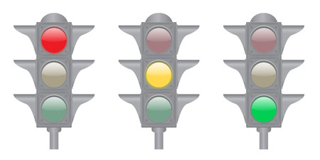 Set of green, yellow and red lights isolated on the white background