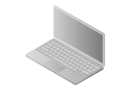 isometric monochrome laptop (notebook) front view  isolated on white background Illustration