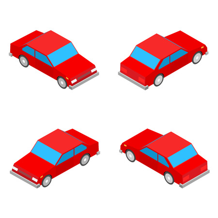 coupe: red isometric coupe car isolated on the white background