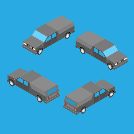 powerfull: isometric double cab pickup truck on the blue background Illustration