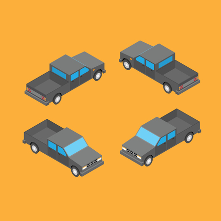 isometric double cab pickup truck on the yellow background Illustration