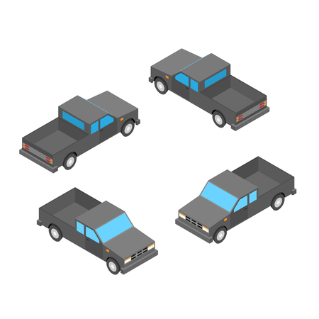 redneck: isometric pickup truck on the white background