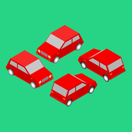 set of red isometric cars Illustration