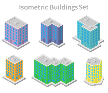 multiple: set of isometric buildings in multiple colors