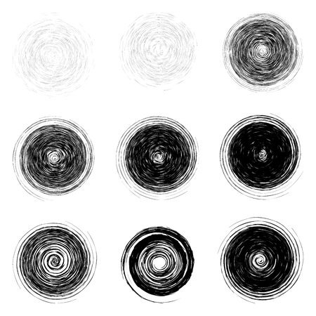 Set of black rounded scribble circles isolated on the white background Illustration