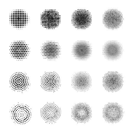 흰색 배경에 고립 된 하프 톤 거친 원의 집합입니다. 하프 톤 효과 도트 패턴의 컬렉션입니다.