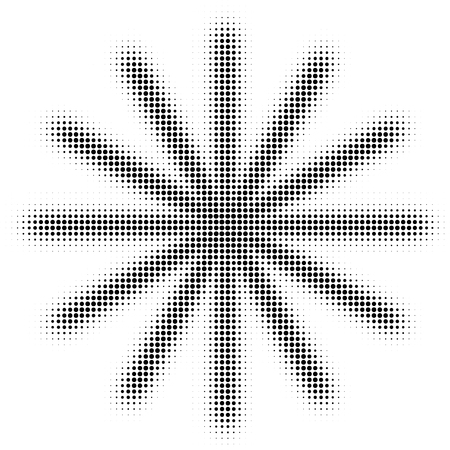 Halftone snowflake isolated on white background