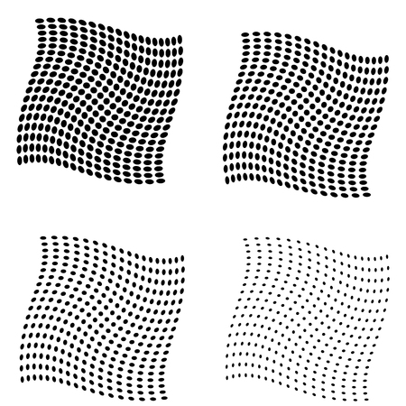 Set of Halftone curved squares isolated on the white background. Collection of halftone effect transformed dot patterns. Isolated backdrop illustration.