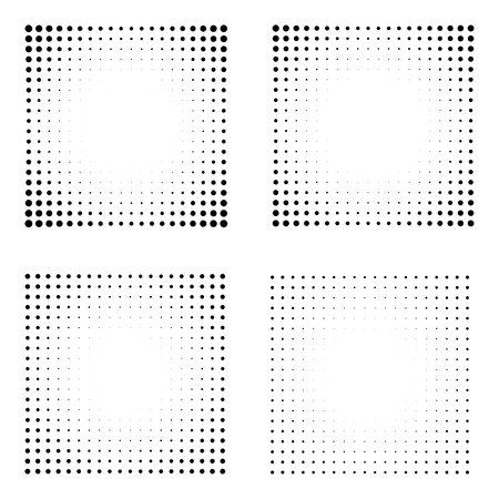 Set of Halftone squares isolated on the white background. Collection of halftone effect dot patterns. Rectangle black illustration. Isolated backdrop.