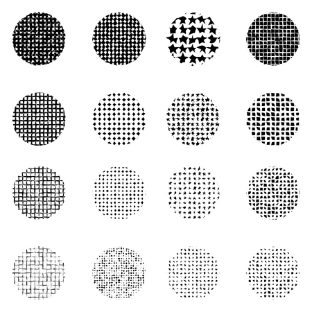 Set of Halftone roughen circles isolated on white background.Collection of halftone effect dot patterns.