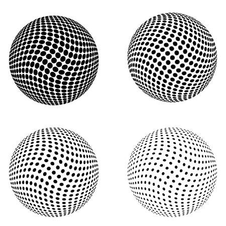 Set of Halftone circles isolated on the white background.Collection of halftone effect dot patterns.Sphere illustration.Abstract business symbol.Circular vector logo for your design.Isolated black icon. Illustration