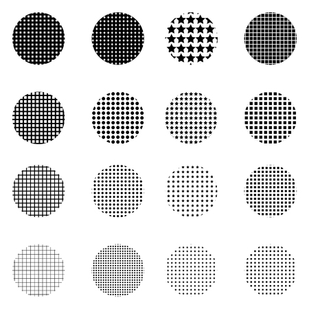 Set of Halftone circles isolated on white background.Collection of halftone effect dot patterns. Illustration