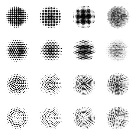 Set of Halftone circles isolated on white background.Collection of halftone effect dot patterns.Circle illustration. Abstract business symbol.Circular vector logo for your design.Isolated black icon. Illustration