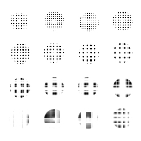Set of Halftone circles isolated on  white background.Collection of halftone  effect dot patterns.Vector illustration. Illustration