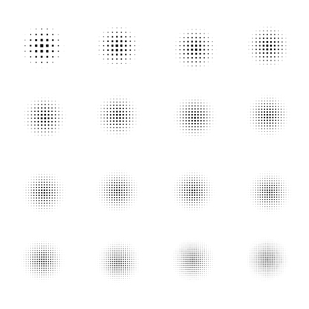 Set of Halftone squares isolated on white background.Collection of halftone effect dot patterns.Vector illustration.