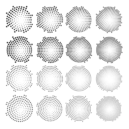 Halftone circularly distributed dots . Halftone effect vector pattern. Circle dots isolated on the white background.